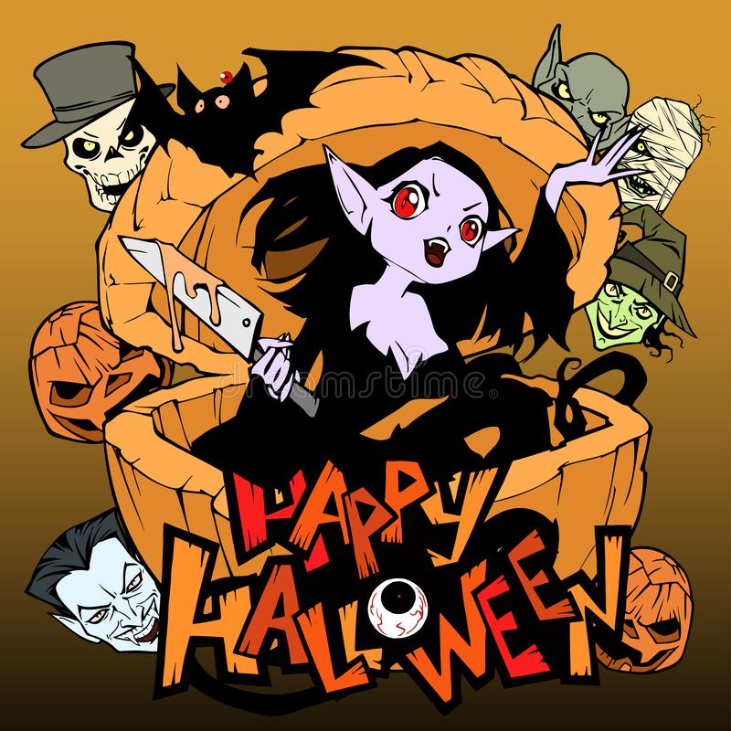 Cartoon spooky and funny illustration with a pretty evil vampire girl. She hides in a huge pumpkin looking out of it with a knife. In her hands. Hand drawn royalty free illustration