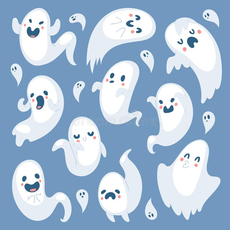 Cartoon spooky ghost Halloween Day celebrate character scary monster costume evil silhouette creepy vector illustration. vector illustration