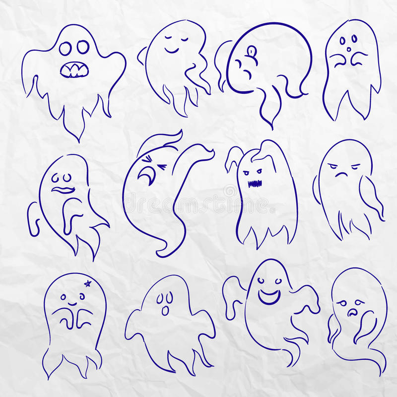 Cartoon Spooky Sketchy Ghost Character Vector Set Holiday Monster