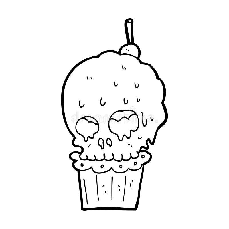 Download cartoon spooky skull cupcake stock illustration illustration of quirky skull 37027860