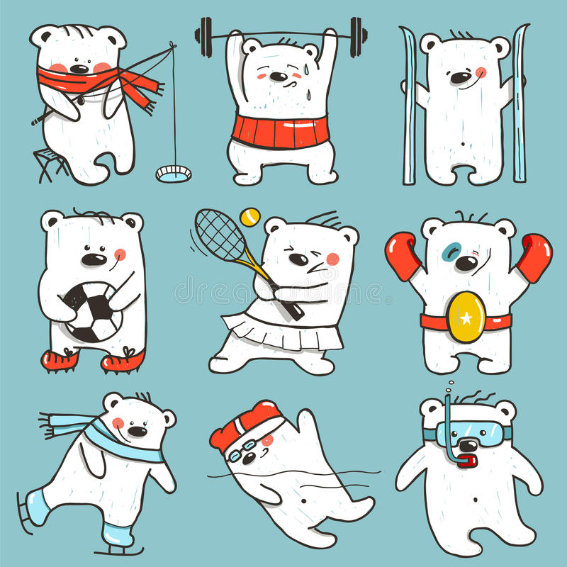 Cartoon Sport Bears in Action Collection royalty free illustration
