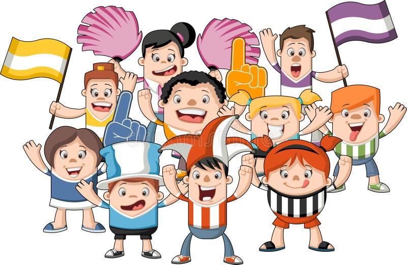 Cheering Fans Cartoon : Cartoon sport fans and supporters cheering stock vector