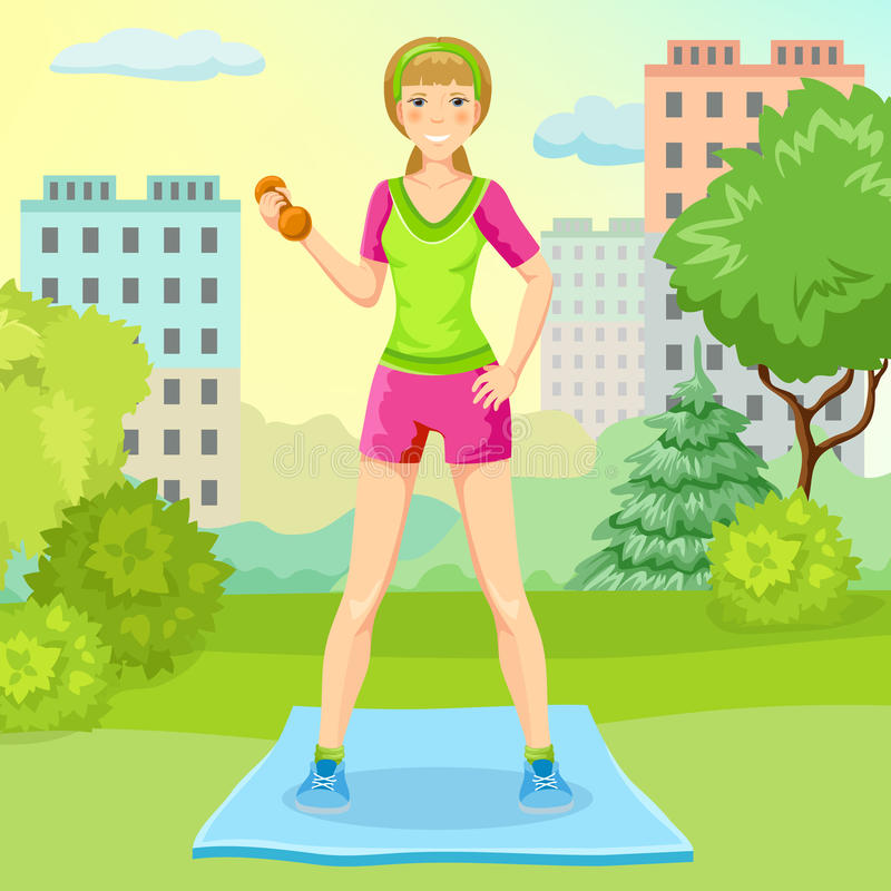Cartoon Sport Lifestyle Concept. With slim girl standing on mat and holding dumbbell in city park vector illustration royalty free illustration