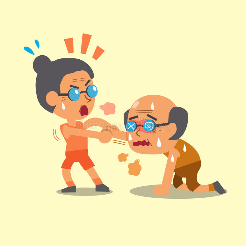 Cartoon sport old woman helping old man to run. For design stock illustration