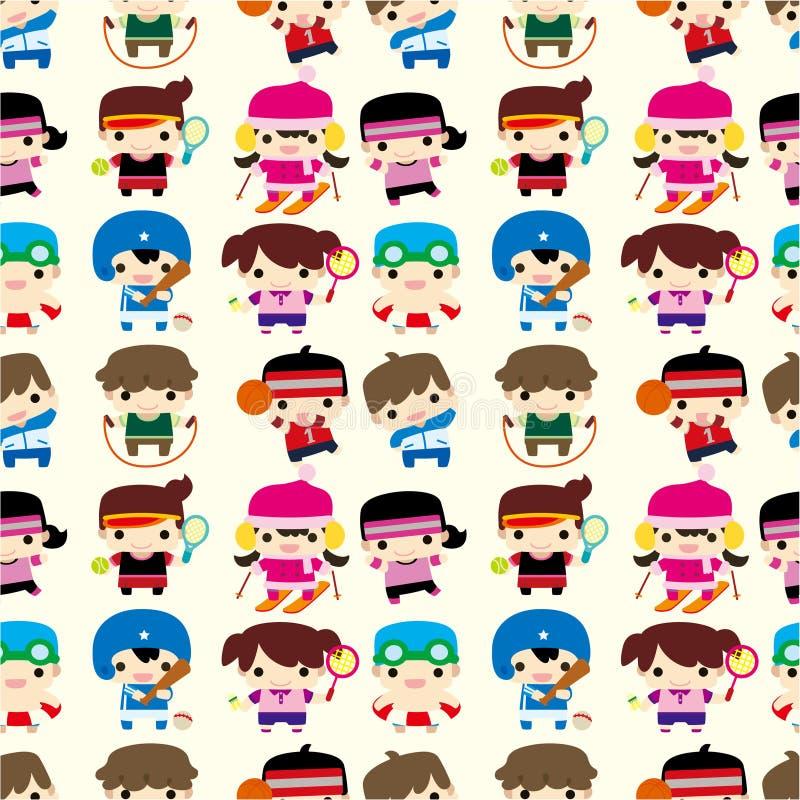Cartoon Sport Player Seamless Pattern Royalty Free Stock Image