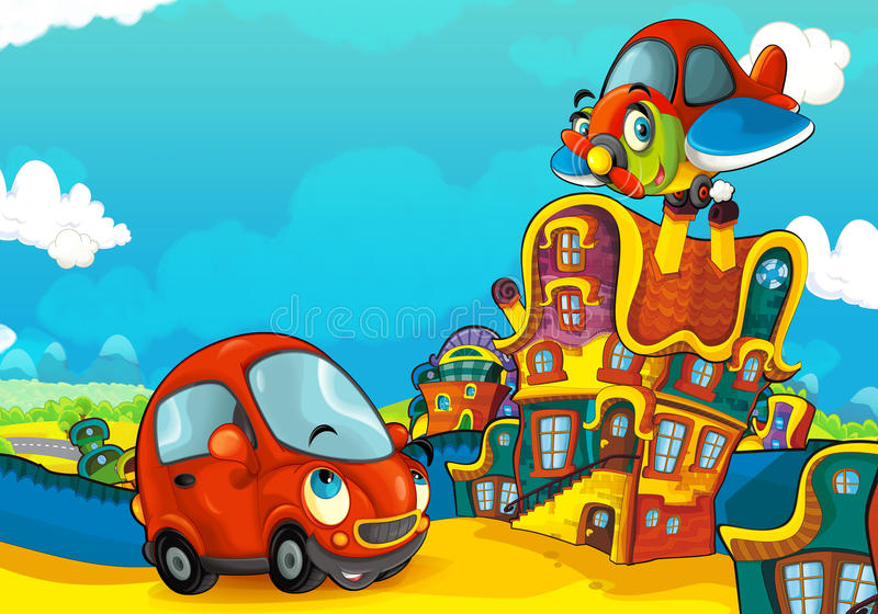 Cartoon sports car smiling and looking in the parking lot and plane flying over. Beautiful and colorful illustration for the children - for different usage - for stock illustration