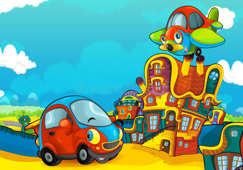 Cartoon sports car smiling and looking in the parking lot and plane flying over. Beautiful and colorful illustration for the children - for different usage - for vector illustration