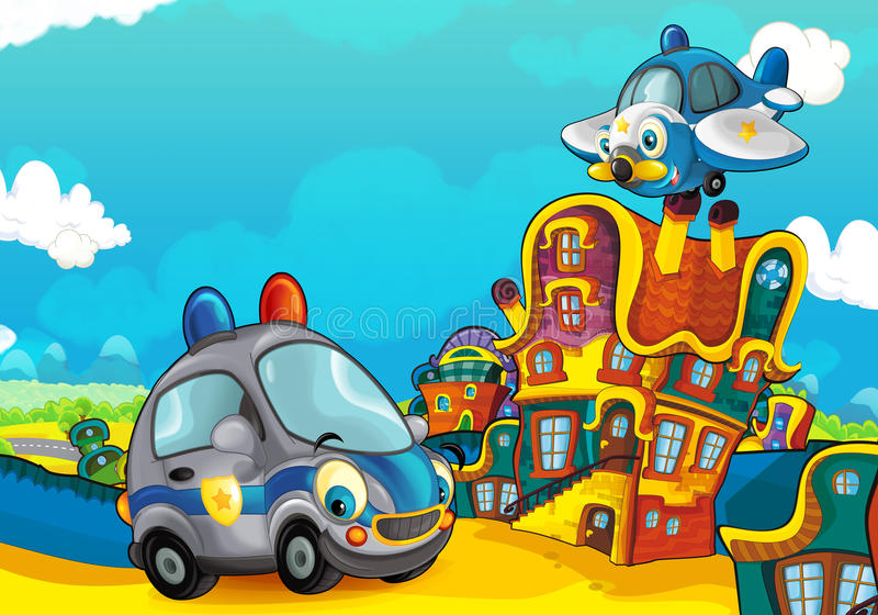 Cartoon sports car smiling and looking in the parking lot and plane flying over. Beautiful and colorful illustration for the children - for different usage - for royalty free illustration