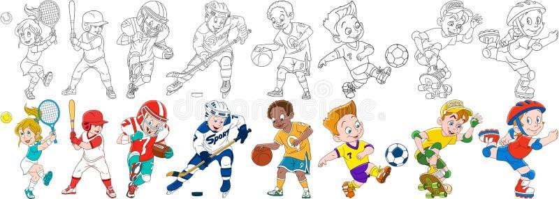 Cartoon sports set. Cartoon sportive children set. Sport collection. Boys and girls playing tennis, baseball, american football rugby, hockey, basketball, roller royalty free illustration