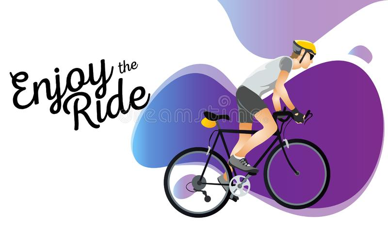 Cartoon sportsman bicyclist in helmet riding bicycle in sportswear. Man on road cyclocross touring and adventure bikes vector illustration. Sport and transport vector illustration