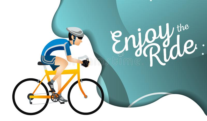 Cartoon sportsman bicyclist in helmet riding bicycle in sportswear. Man on road cyclocross touring and adventure bikes vector illustration. Sport and transport royalty free illustration
