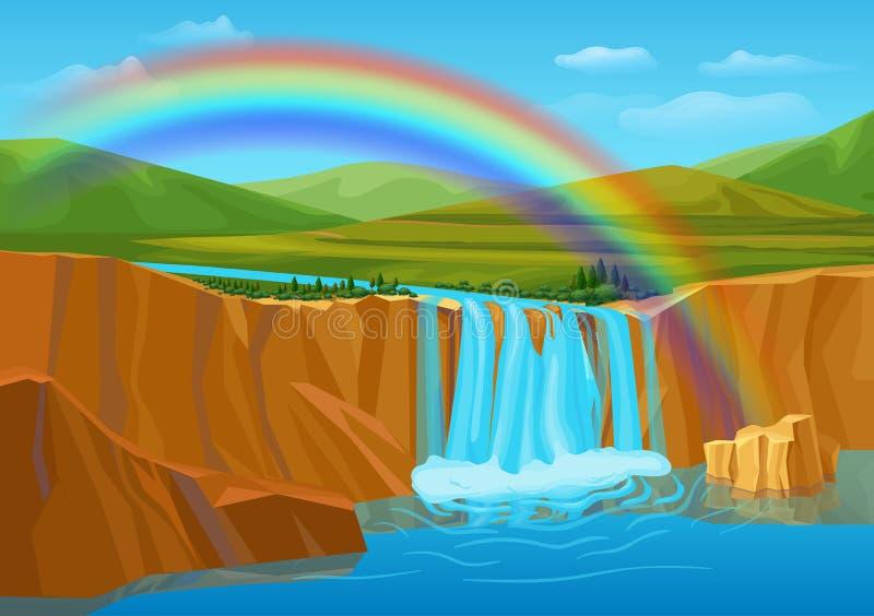 Cartoon Spring Nature Landscape Template vector illustration