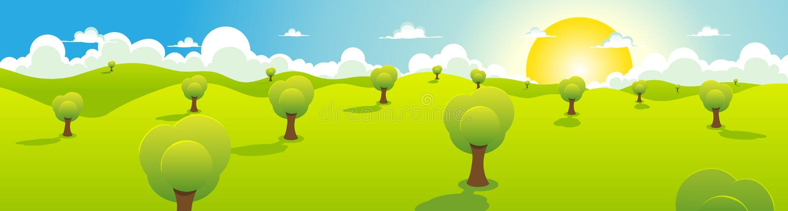 Cartoon Spring Or Summer Landscape Header vector illustration