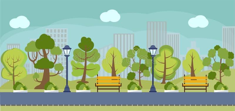 Cartoon spring or summer park panorama. vector illustration