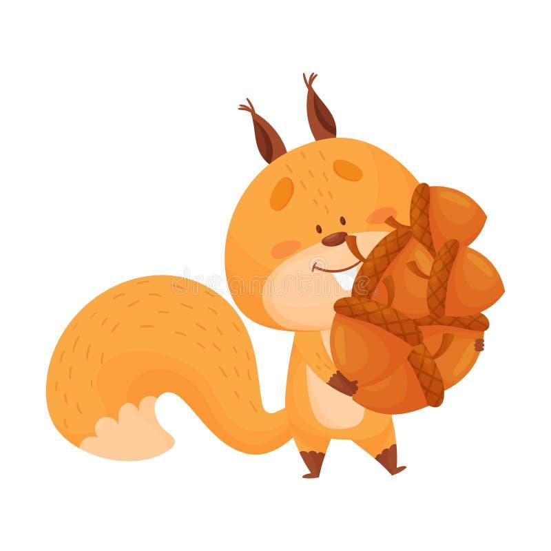Cartoon Squirrel Animal Carrying Veel korrels in zijn Tree Hollow Vector Illustration royalty-vrije illustratie