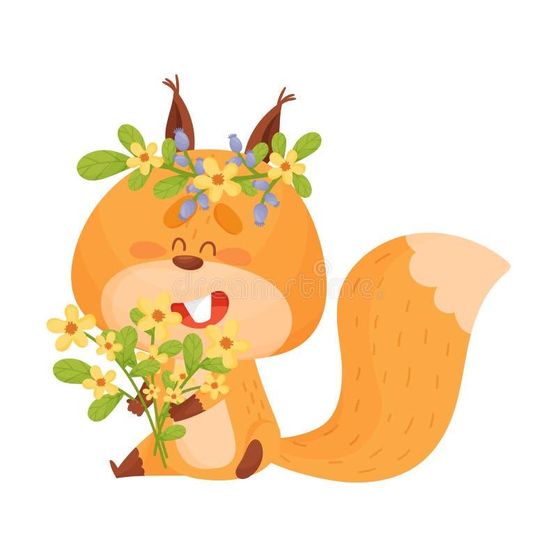 Cartoon Squirrel Animal Gathering Flowers Vector Illustratie stock illustratie