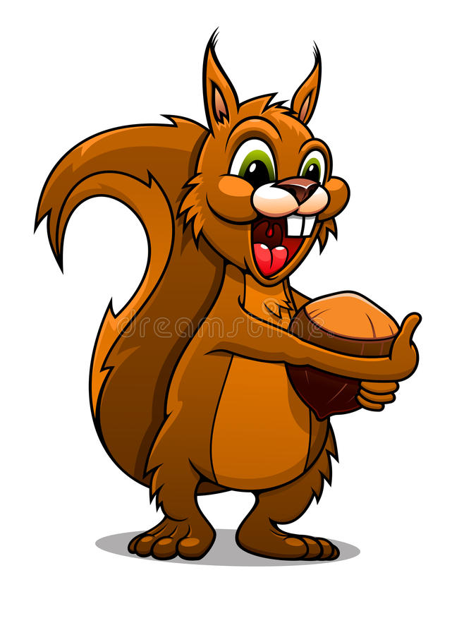 Free Cartoon Squirrel With Nut Royalty Free Stock Images - 41268799