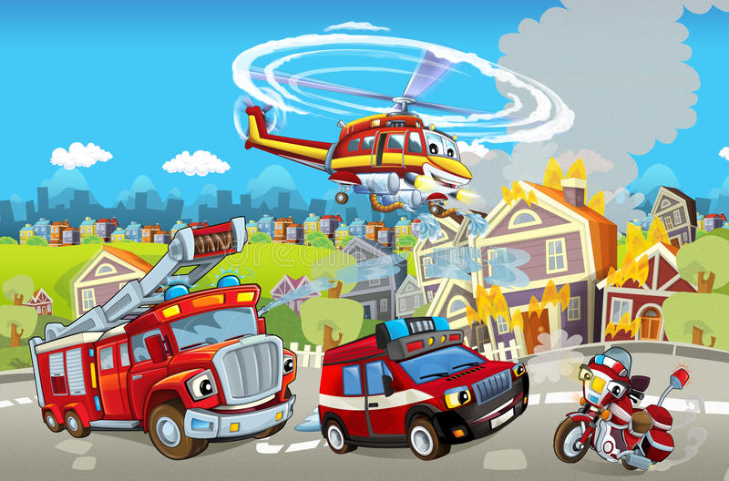 Cartoon stage with different machines for firefighting. Beautiful and colorful illustration for the children - for different usage stock illustration