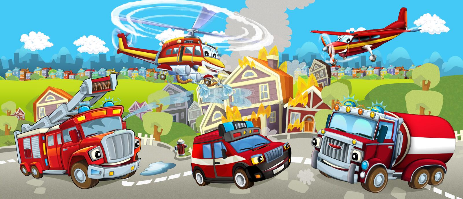 Cartoon stage with different machines for firefighting colorful and cheerful scene. Beautiful and colorful illustration for the children - for different usage stock illustration