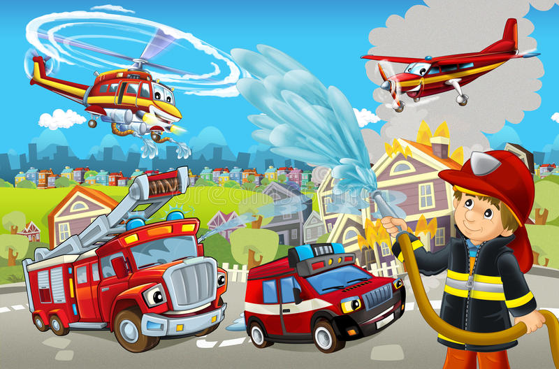 Cartoon stage with different machines for firefighting colorful and cheerful scene. Beautiful and colorful illustration for the children - for different usage royalty free illustration