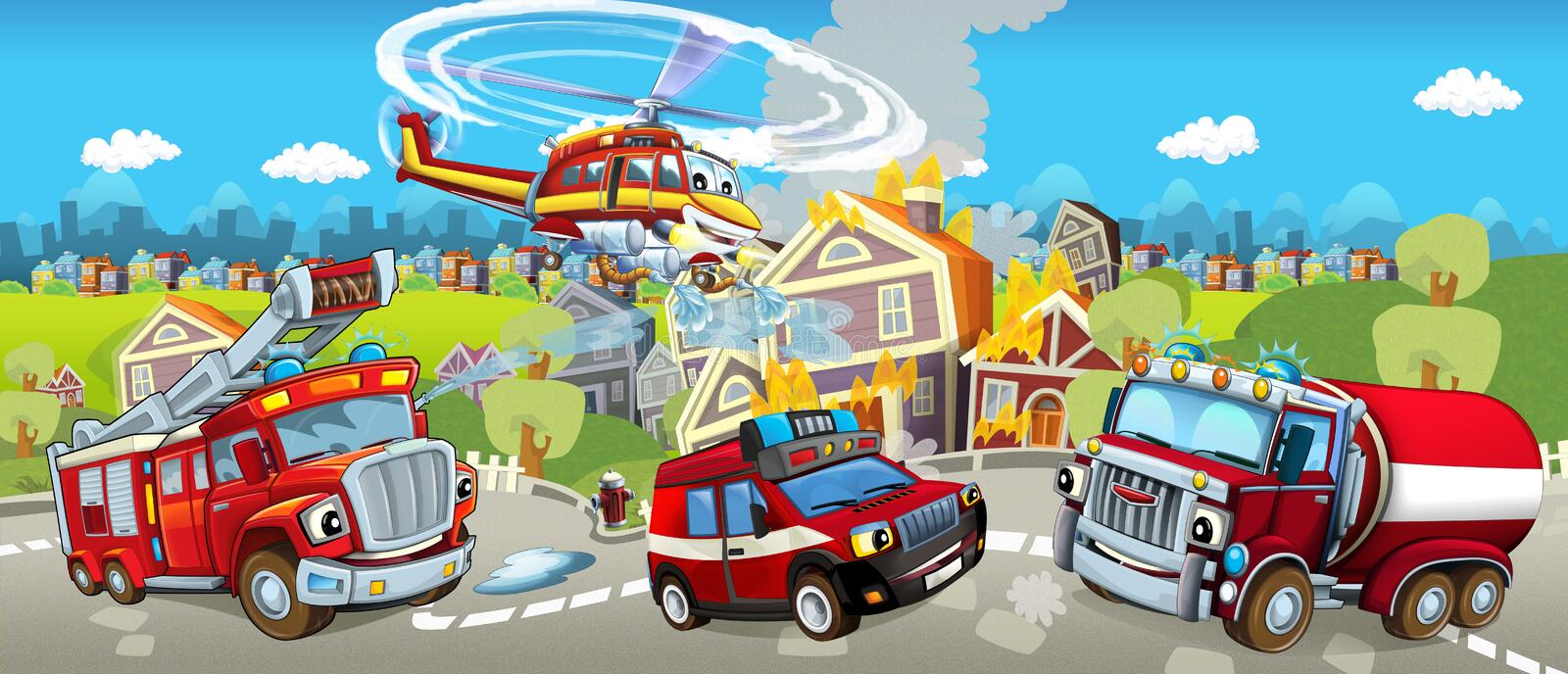 Cartoon stage with different machines for firefighting - colorful and cheerful scene. Happy and funny traditional scene for different usage vector illustration