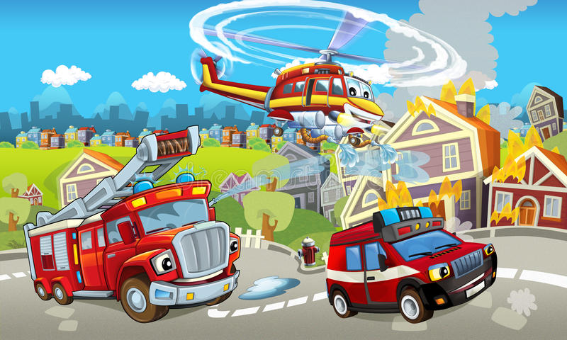 Cartoon stage with different machines for firefighting - colorful and cheerful scene. Happy and funny traditional scene for different usage - for different fary royalty free illustration