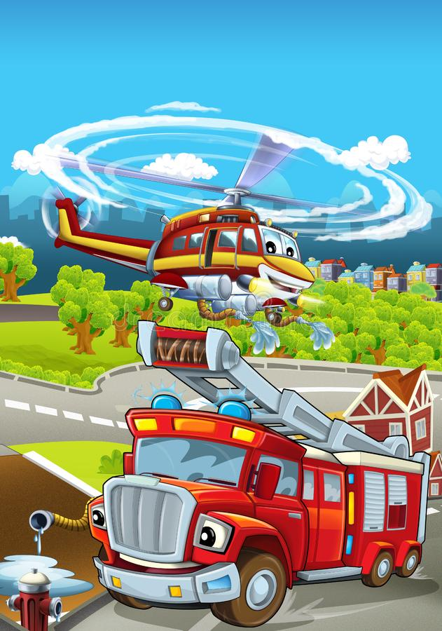 Cartoon stage with different machines for firefighting - truck and helicopter - colorful and cheerful scene. Beautiful and colorful illustration for children vector illustration