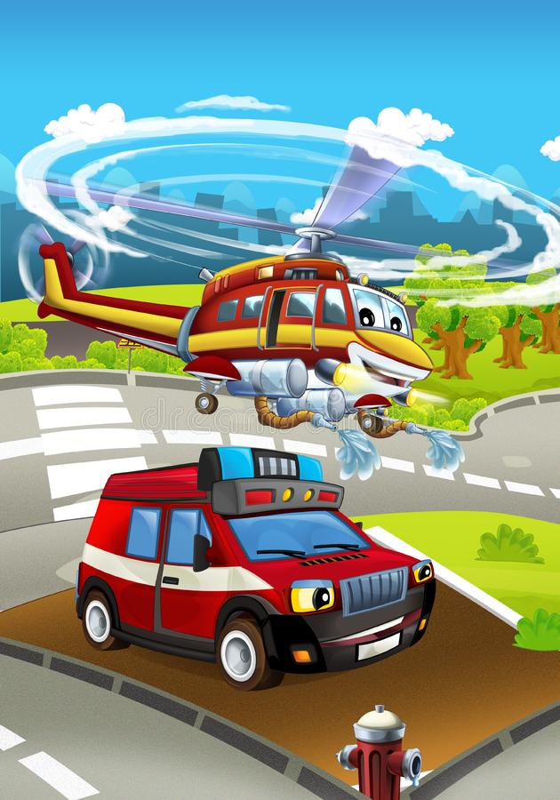 Cartoon stage with different machines for firefighting - truck and helicopter - colorful and cheerful scene. Beautiful and colorful illustration for children stock illustration