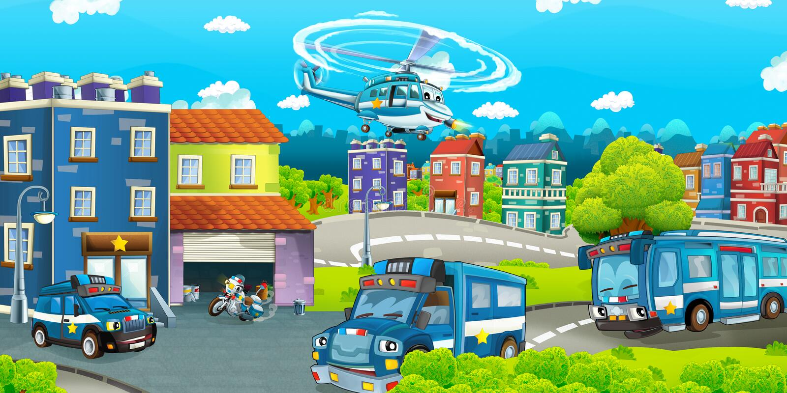 Cartoon stage with different machines for police duty - colorful and cheerful scene. Beautiful and colorful illustration for the children - for different usage vector illustration