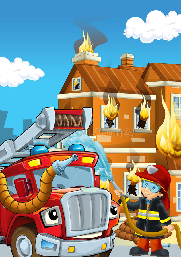 Cartoon stage with fireman near burning building brave firetruck is helping colorful scene. Beautiful and colorful illustration for the children - for different royalty free illustration