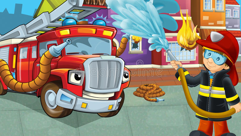 Cartoon stage with fireman near burning building brave firetruck is helping colorful scene. Beautiful and colorful illustration for the children - for different stock illustration