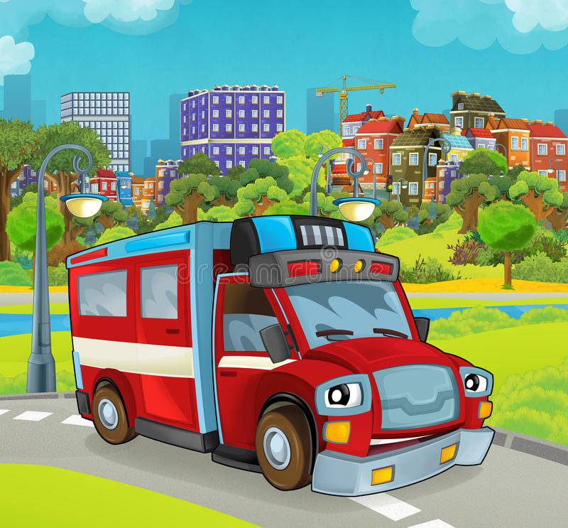 Cartoon stage with happy vehicle - truck for firefighting. Beautiful and colorful illustration for the children - for different usage - for fairy tales stock illustration