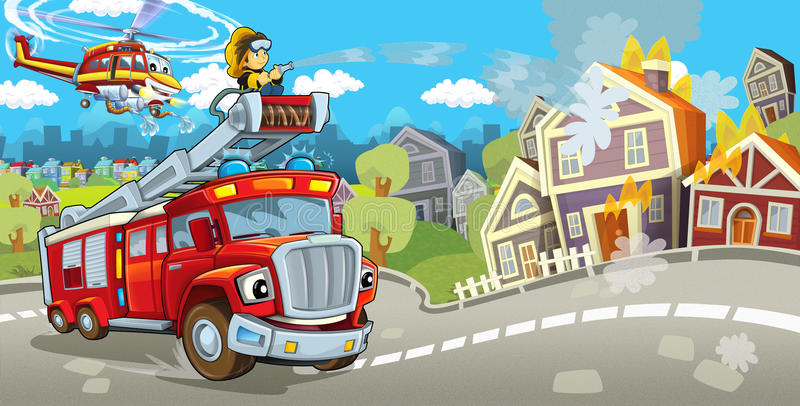 Cartoon stage with truck for firefighting colorful and cheerful scene and flying machine. Beautiful and colorful illustration for the children - for different vector illustration