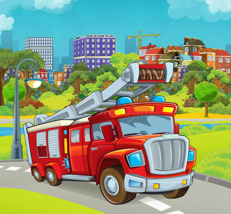 Cartoon stage with vehicle for firefighting truck. Beautiful and colorful illustration for the children - for different usage - for fairy tales royalty free illustration