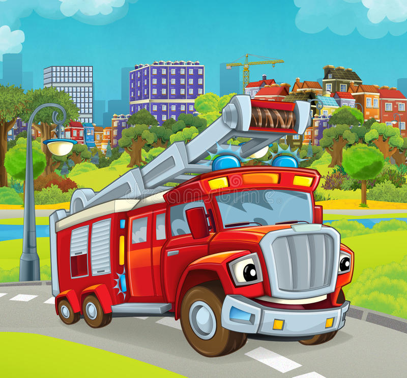 Cartoon stage with vehicle for firefighting truck. Beautiful and colorful illustration for the children - for different usage - for fairy tales stock illustration