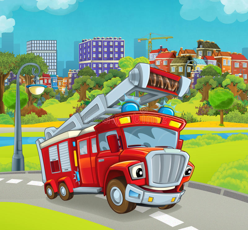 Cartoon stage with vehicle for firefighting truck. Beautiful and colorful illustration for the children - for different usage - for fairy tales vector illustration
