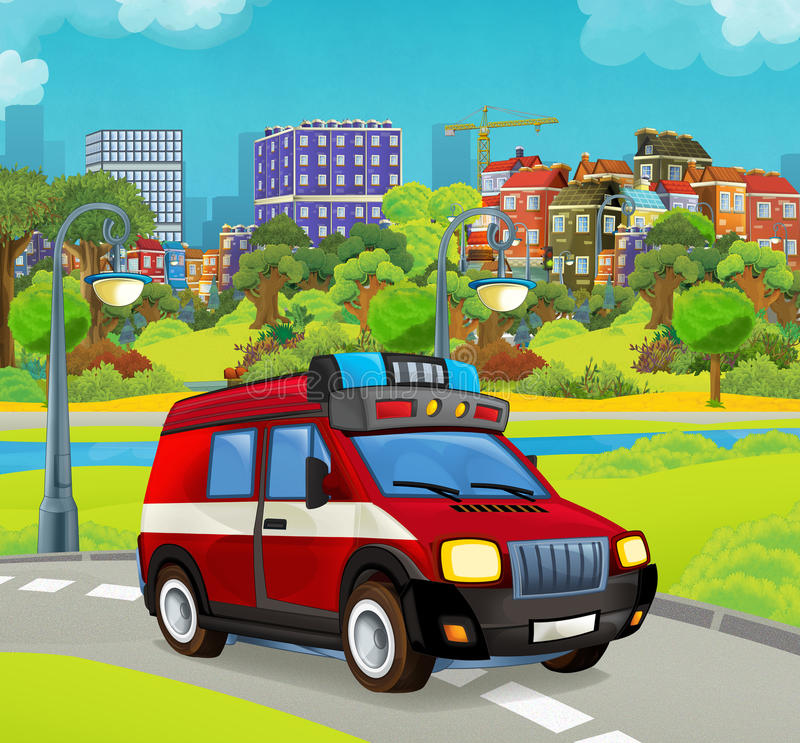 Cartoon stage with vehicle for firefighting truck van looking and smiling. Beautiful and colorful illustration for the children - for different usage - for fairy vector illustration