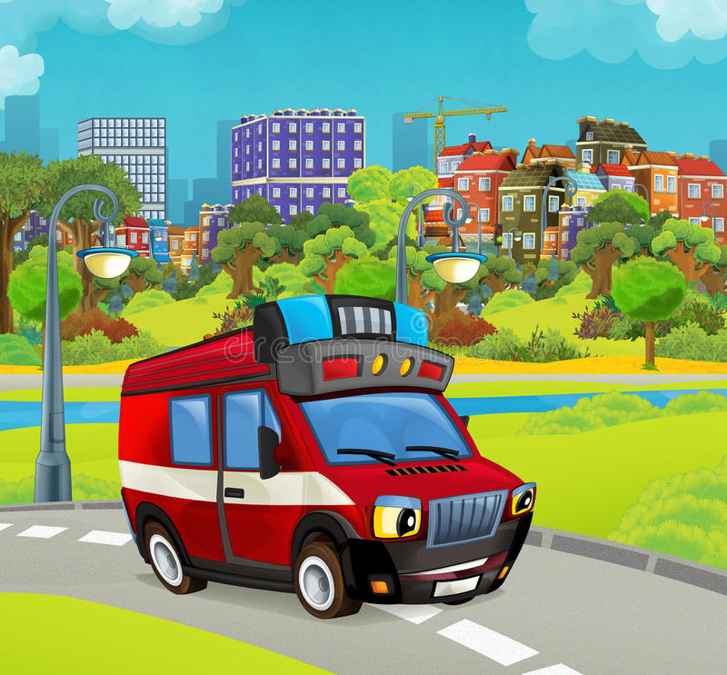 Cartoon stage with vehicle for firefighting truck van looking and smiling. Beautiful and colorful illustration for the children - for different usage - for fairy stock illustration