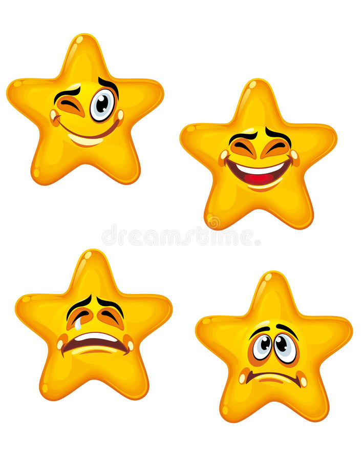 Cartoon stars. Set of glossy cartoon stars with different emotions stock illustration
