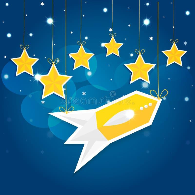 Cartoon Stars And Rocket In The Night Sky. VECTOR Eps10