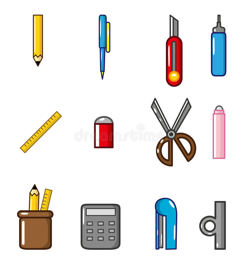 Cartoon Stationery doodle icon vector illustration