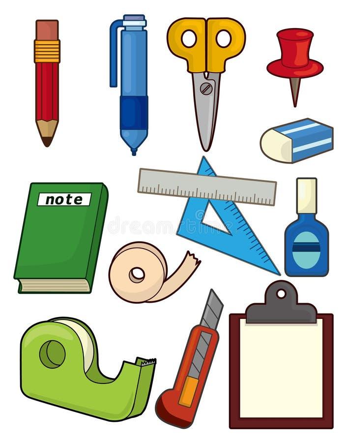 Cartoon stationery icon set vector illustration