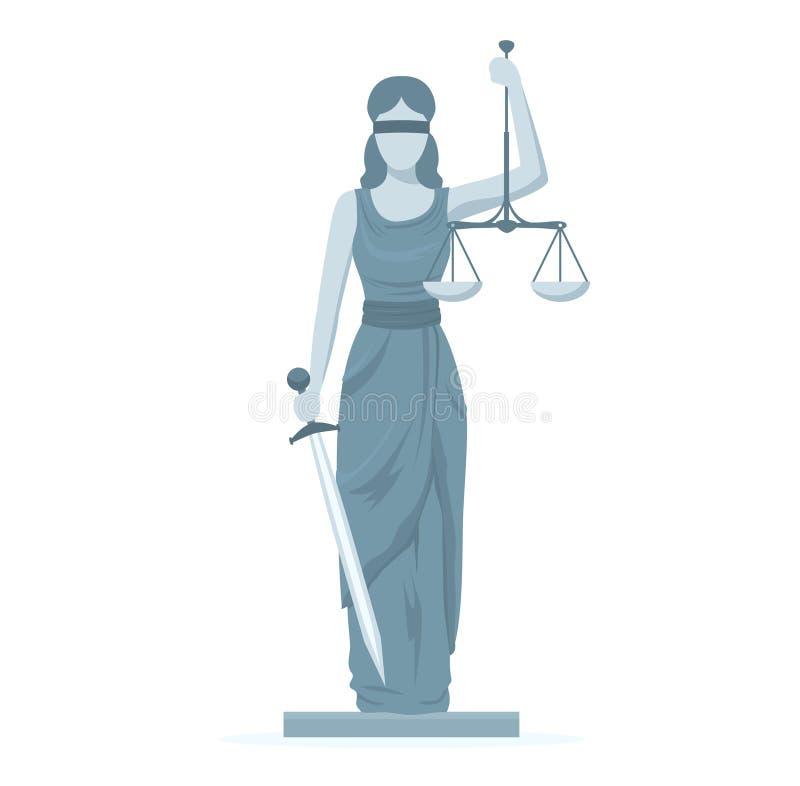 Cartoon Statue of Femida. Vector. Cartoon Statue of Femida with Scales and Sword Flat Design Style Symbol Law Web Element. Vector illustration of of God Justice vector illustration