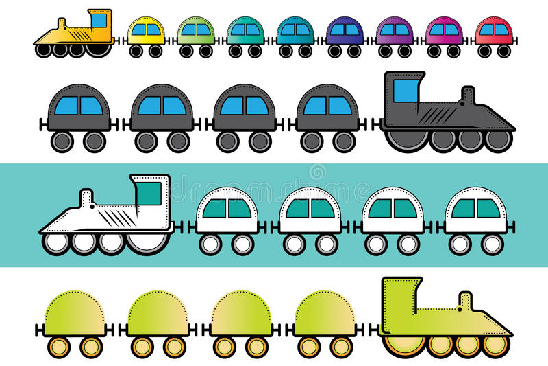 Cartoon steam locomotive train with colored wagons illustration stock illustration