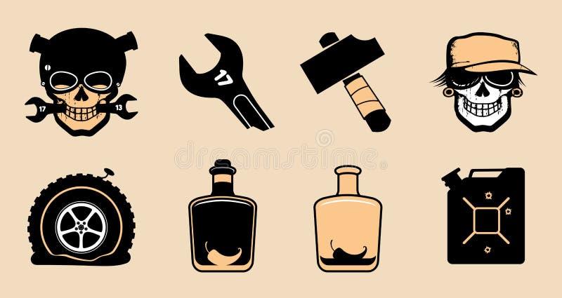 Cartoon steampunk icons. royalty free illustration