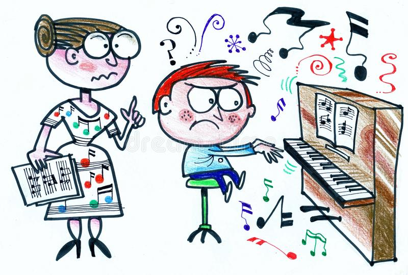 Cartoon of stern piano teacher with reluctant pupil royalty free stock photography
