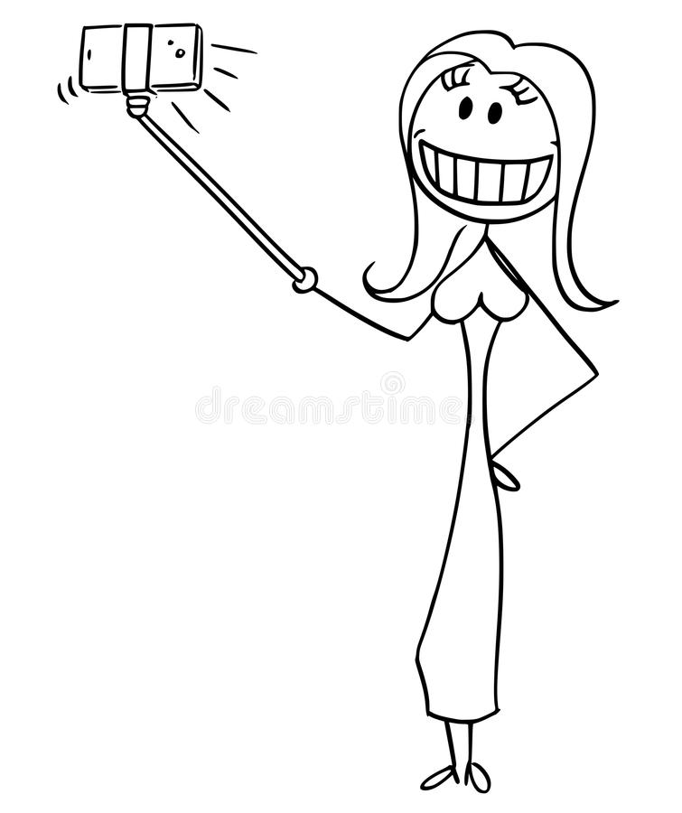 Cartoon of Woman With Artificial Smile Taking Selfie With Stick. Cartoon stick drawing conceptual illustration of beautiful woman with big artificial smile stock illustration