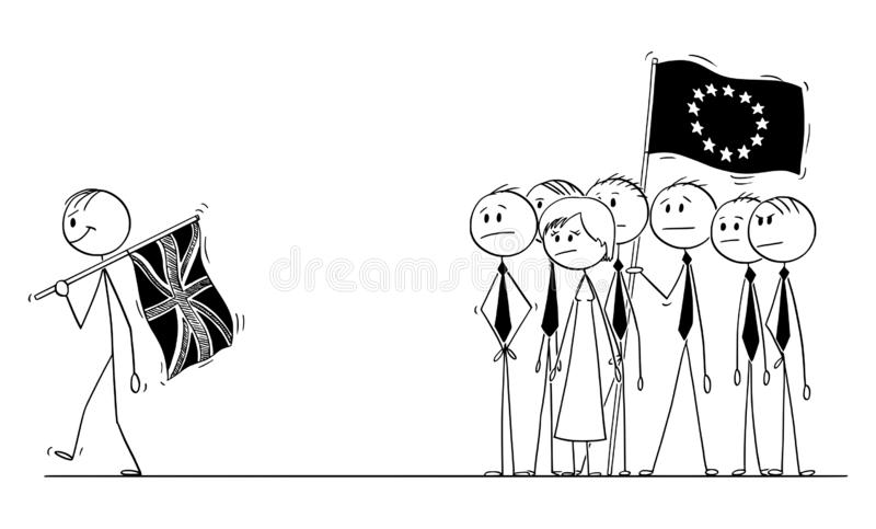 Vector Cartoon of Prime Minister with Flag of UK or United Kingdom is Leaving European Union during Brexit as Victor. EU. Cartoon stick drawing conceptual royalty free illustration