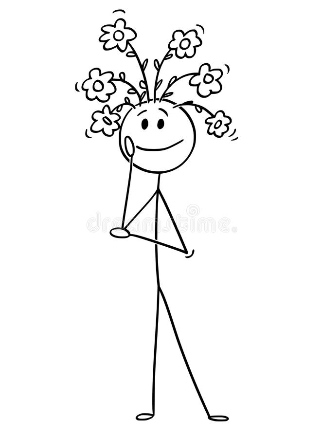 Cartoon Of Man With Flowers Growing From His Head Stock