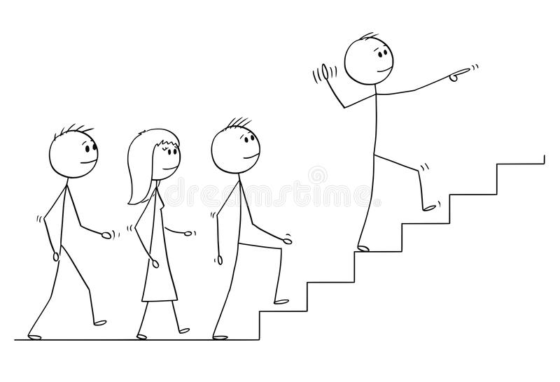 Cartoon of Leader Leading a Team of Business People Upstairs. Cartoon stick drawing conceptual illustration of leader leading a team of business people upstairs vector illustration
